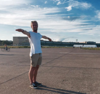 Bursting with joy in Berlin - abandoned airport.